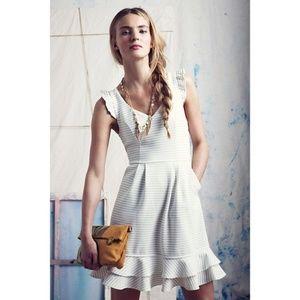 Maeve White Stripe Sunland Ruffle Flounce Dress